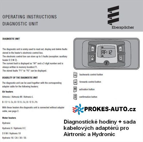 Eberspacher Diagnostika H2 22154589 diagnostické hodiny + sada kabelů Eberspächer