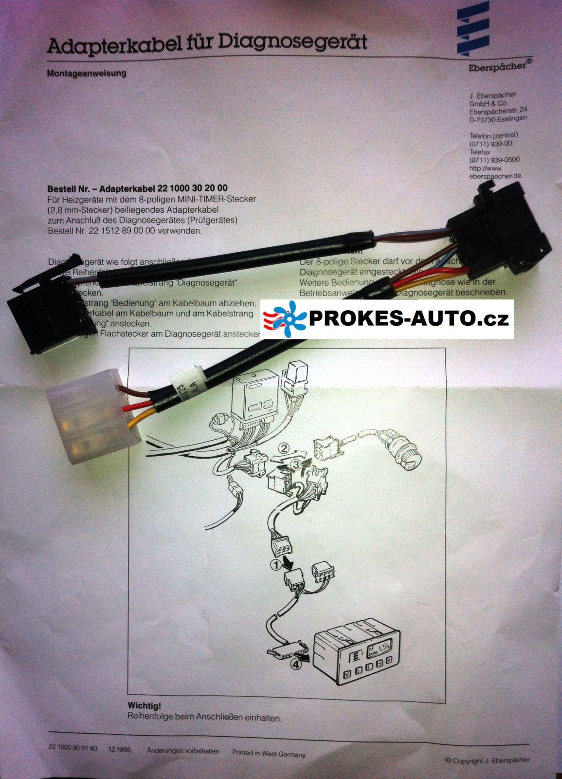 Adaptér diagnostický kabel k topení D1LC / D3LC / D3LP / D5LC 221000302000 Eberspächer