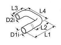 Webasto Tvarovaná vodní hadice Di20 / D2i15 / D1a27 / D2a22mm 89116 / 1320901