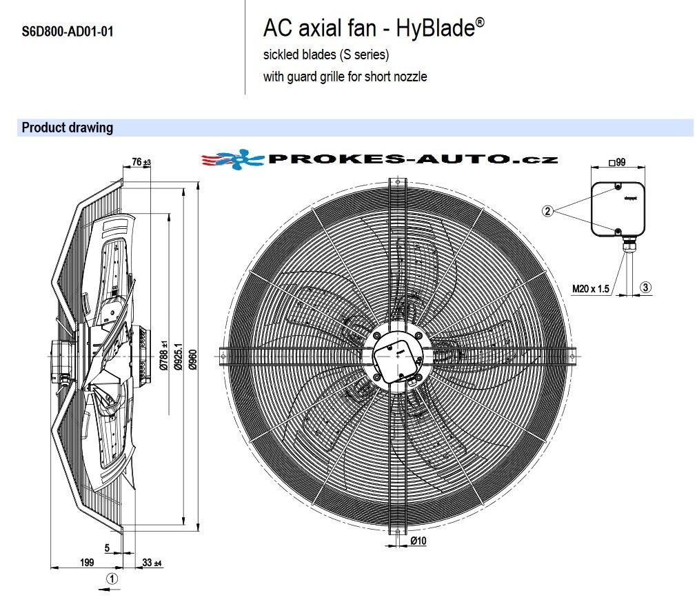 EBM PAPST ventilátor sací 800 mm 400V 6 pólový S6D800-AD01-01 / S6D800-CD01-01