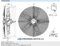 EBM PAPST ventilátor sací 910 mm 400V 8 pólový S8D910-CD01-01