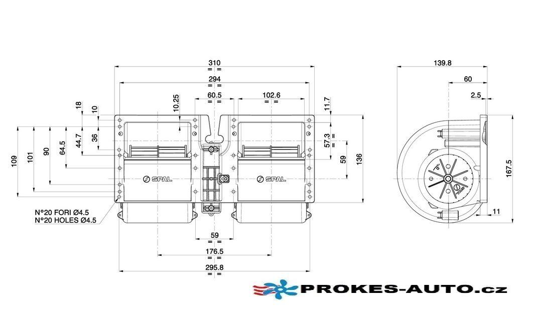 Ventilátor radiální SPAL 12V Bycool Evolution; R-Evolution; Microfilter; Flat 091016C025 Dirna / SPAL