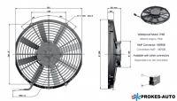 Ventilátor GENERAL CAB 12V sací 305mm 1494 m3/h