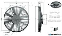 Ventilátor GENERAL CAB 12V sací 305mm 2156 m3/h
